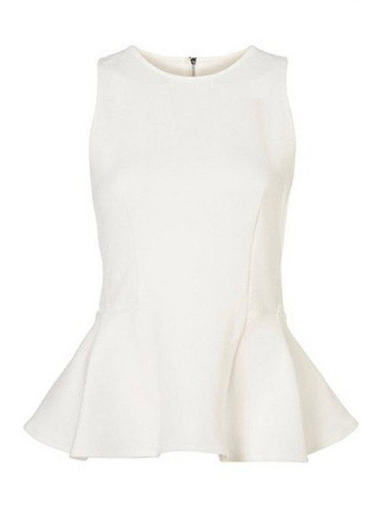women's Solid Color Flounce Splicing Sleeveless Shirt - WHITE XS