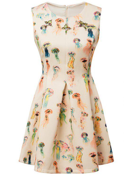 fancy Colorful Jellyfish Print Dress - COLORMIX S