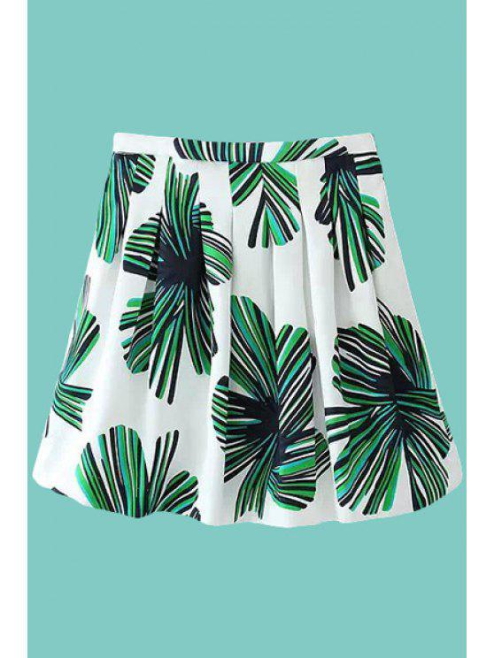womens Color Block Leaves Print Skirt - WHITE AND GREEN S
