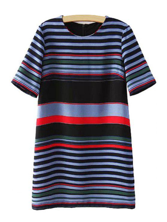 womens Colorful Stripe Short Sleeve Dress - COLORMIX S