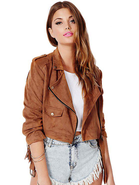 outfits Solid Color Fringe Jacket - BROWN XS