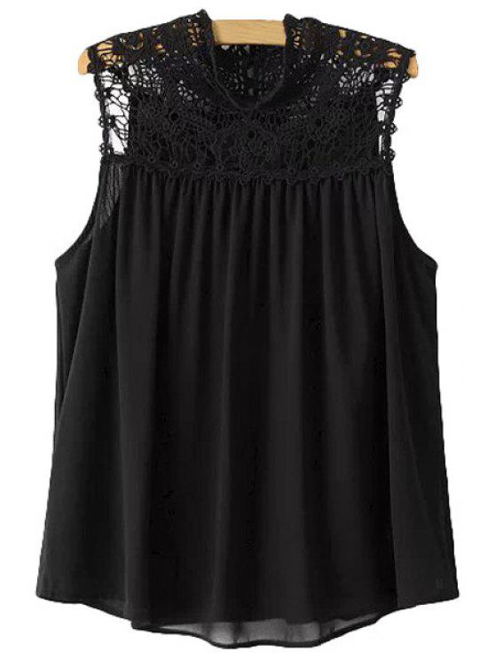 womens Lace Splicing Solid Color Sleeveless Blouse - BLACK S