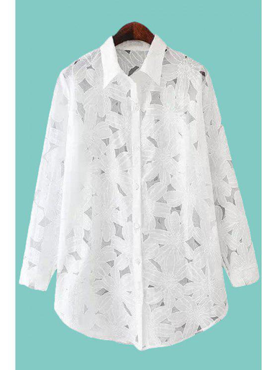 trendy Floral Pattern Solid Color See-Through Shirt - WHITE M