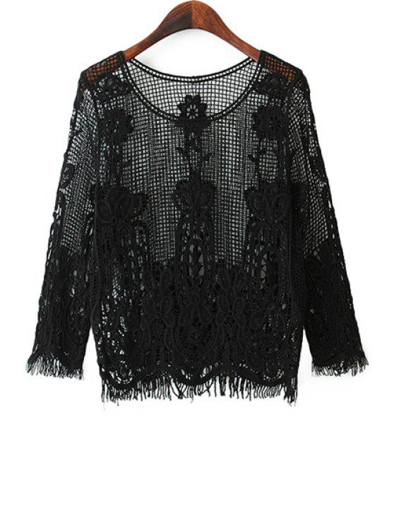 chic Solid Color Lace Openwork Blouse - BLACK ONE SIZE(FIT SIZE XS TO M)