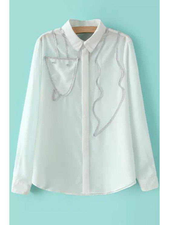 fancy Lurex Splicing Long Sleeve Shirt - WHITE S