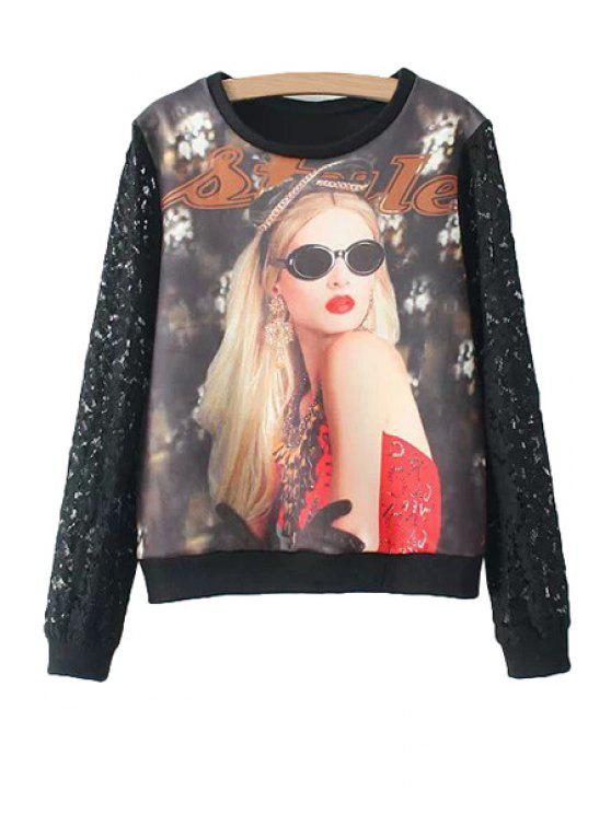 chic Figure Print Lace Splicing Sweatshirt - BLACK S