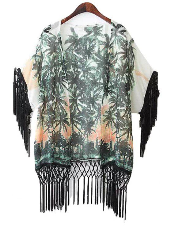 sale Coconut Tree Print Fringe Coat - WHITE AND GREEN S
