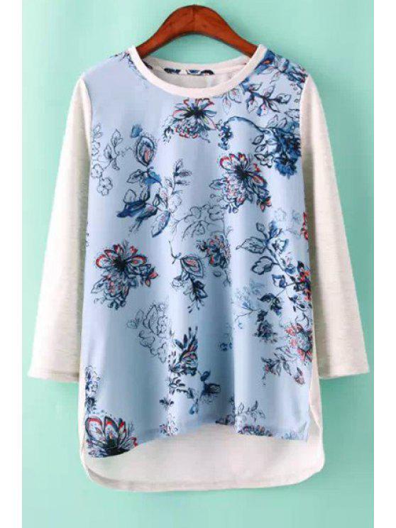 unique Floral Print Asymmetrical T-Shirt - BLUE AND WHITE S