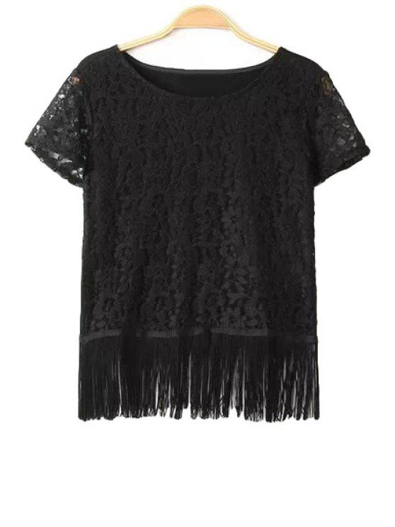 womens Solid Color Fringe Splicing Lace T-Shirt - BLACK S
