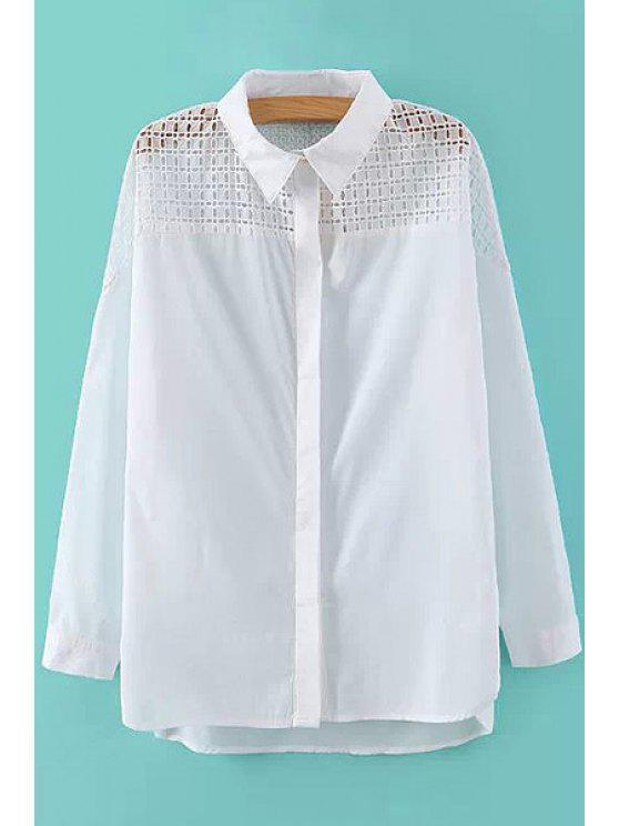 affordable Hollow Splicing Long Sleeve Shirt - WHITE S