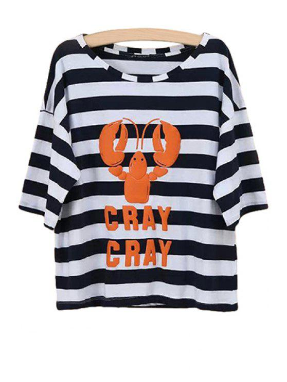 outfit Lobster Print Striped T-Shirt - STRIPE S
