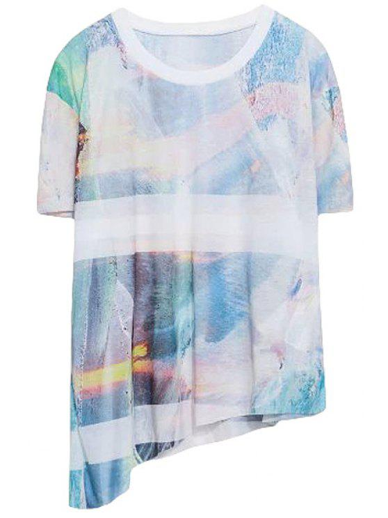 unique Print Short Sleeve Irregular T-Shirt - COLORMIX ONE SIZE(FIT SIZE XS TO M)