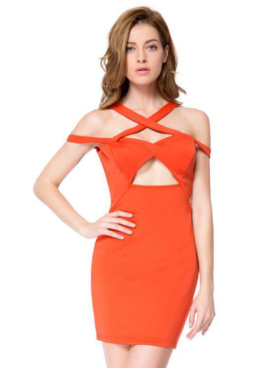 fancy Solid Color Off-The-Shoulder Bodycon Dress - JACINTH M