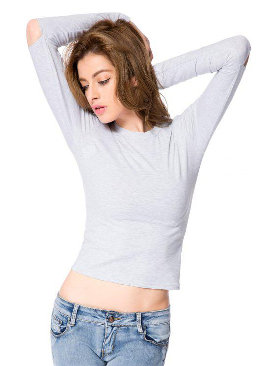 outfits Solid Color Cut Out Crop Top - GRAY XS
