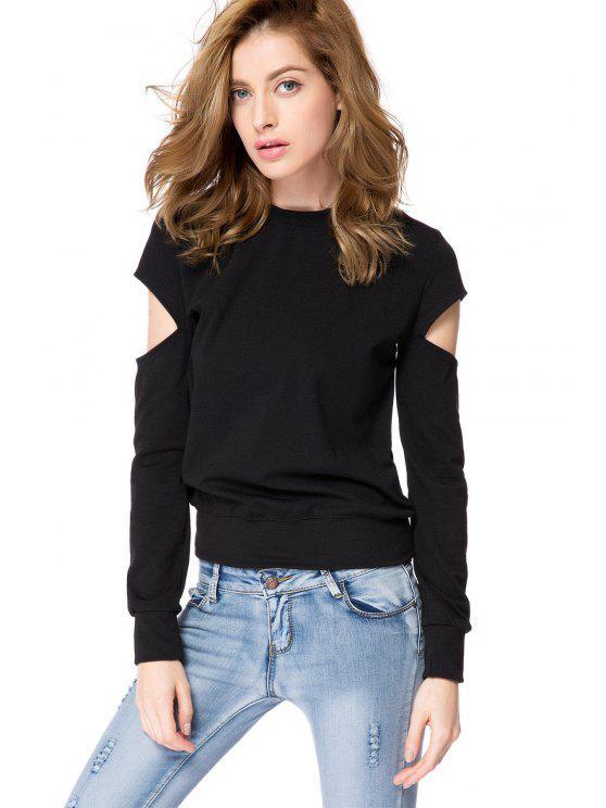 fancy Black Long Sleeve Cut Out Sweatshirt - BLACK XS