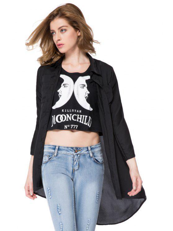 trendy Black Shirt Collar Dress - BLACK XS