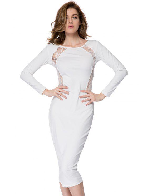 shops Lace Splicing Bodycon Dress - WHITE L
