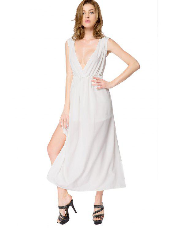 lady White Side Slit Backless Dress - WHITE M