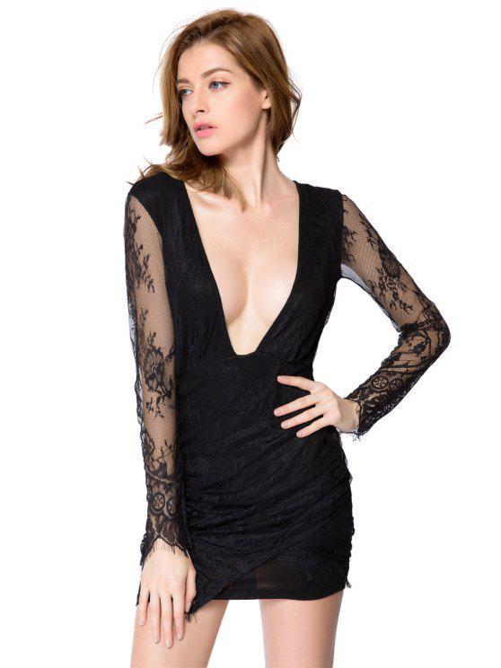 affordable Solid Color Plunging Neck Lace Dress - BLACK XL
