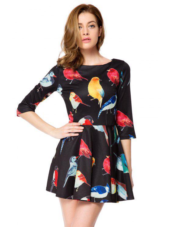 fancy Bird Print 3/4 Sleeve A-Line Dress - BLACK M