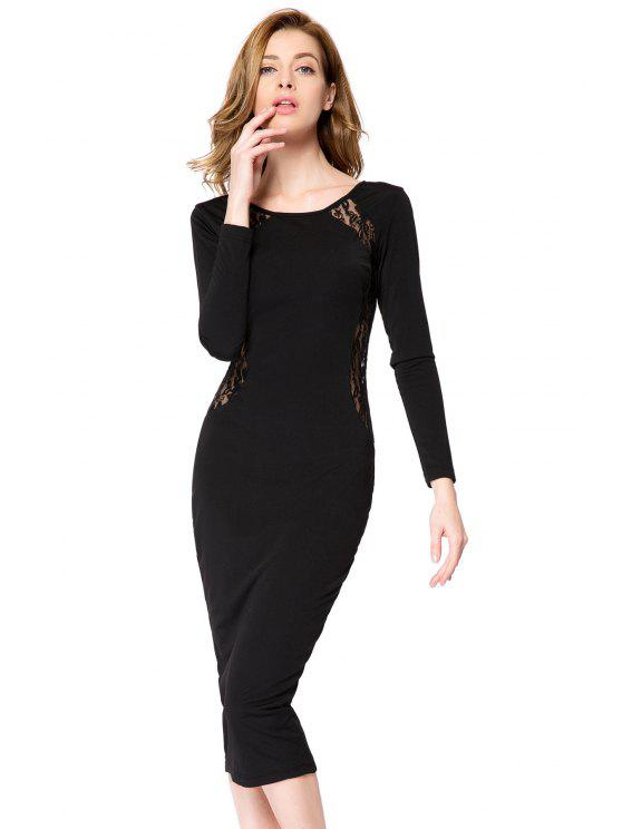 women Lace Splicing Bodycon Dress - BLACK S