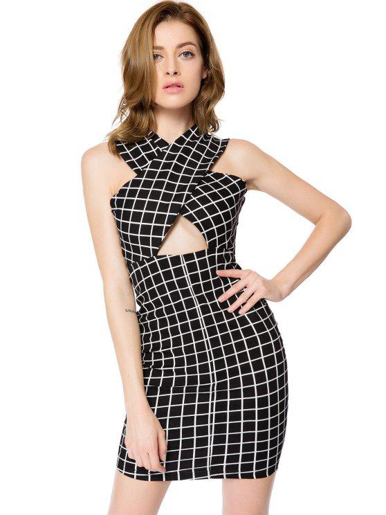 shops Short Sleeve Checked Bodycon Dress - CHECKED S