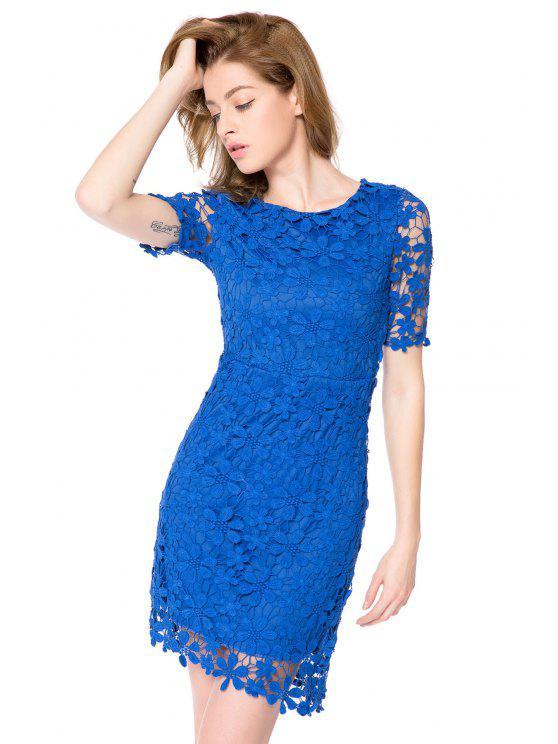 women's Crochet Flower Short Sleeve Dress - BLUE XS