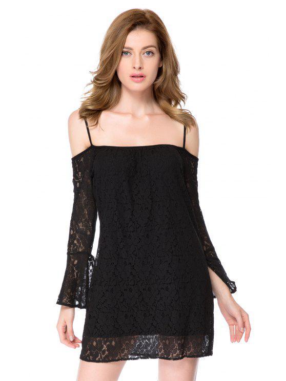 fancy Spaghetti Straps Black Lace Dress - BLACK L