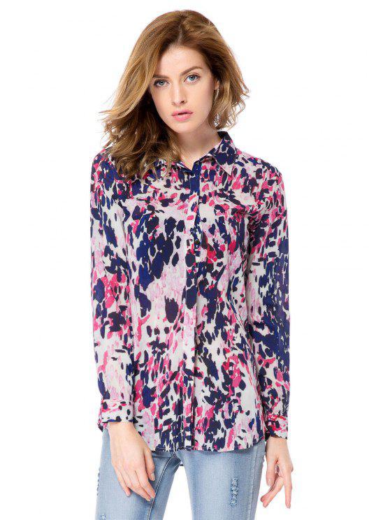 unique Long Sleeve Leopard Print Shirt - LEOPARD XS