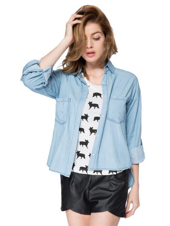 latest Solid Color Denim Shirt - BLUE S