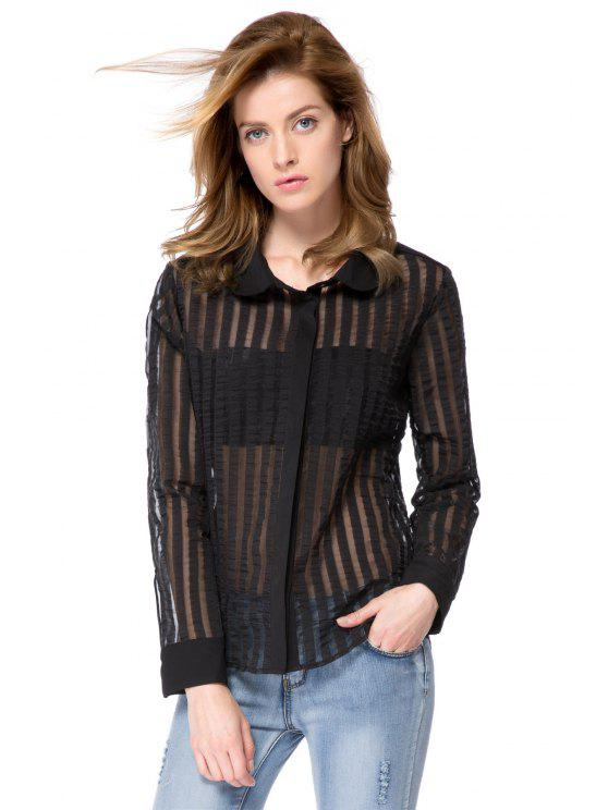 womens Striped Turn-Down Collar Shirt - BLACK S