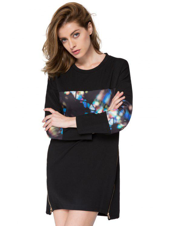 lady Print Splicing Long Sleeves Sweatshirt - BLACK ONE SIZE(FIT SIZE XS TO M)