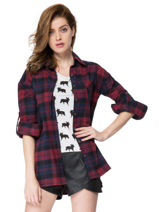 womens Plaid Print Shirt Collar Shirt - RED XS