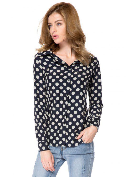 latest Shirt Collar Polka Dot Print Shirt - WHITE AND BLACK 2XL