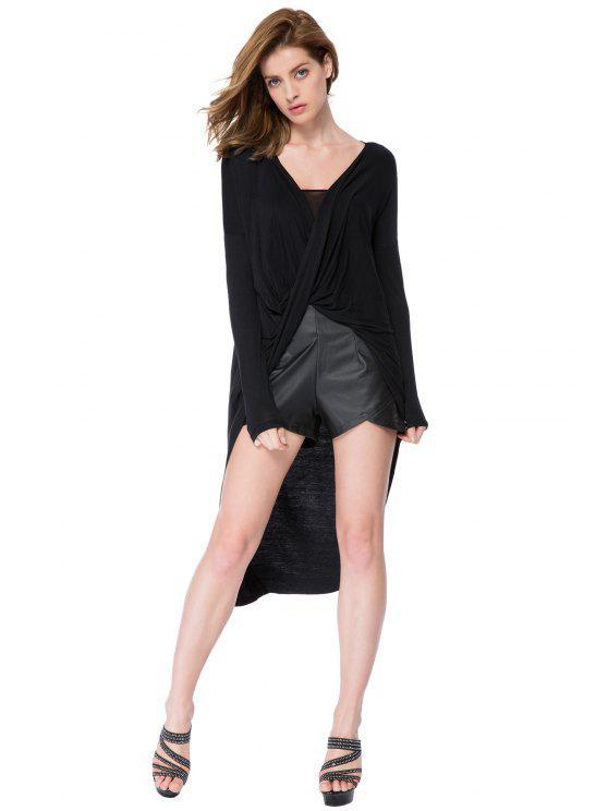 outfits Black V-Neck High-Low Hem Blouse - BLACK XS