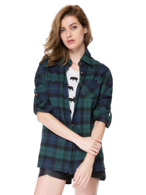 sale Turn-Down Collar Plaid Pattern Shirt - BLUE 2XL