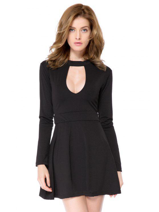trendy Black Long Sleeve Cut Out Dress - BLACK 2XL