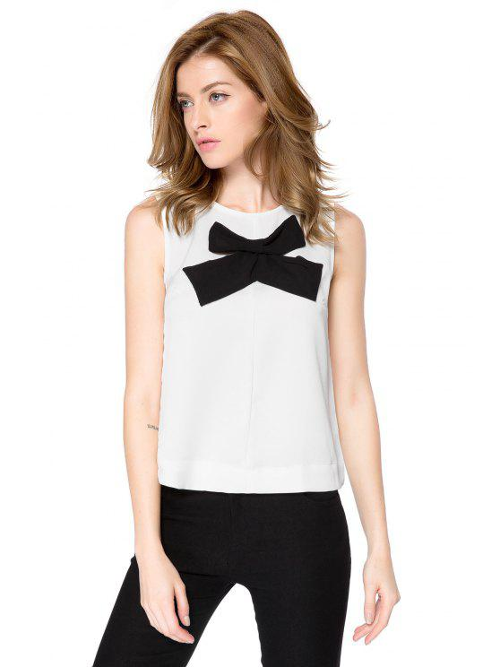 womens Bowknot Pattern Tank Top - WHITE L