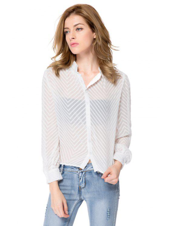 ladies Striped Single-Breasted Back Blouse - WHITE XL