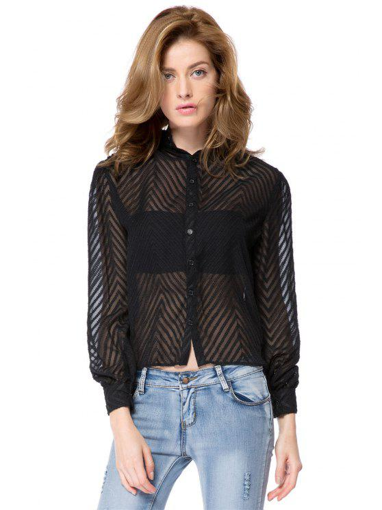 latest Striped Single-Breasted Back Blouse - BLACK 2XL