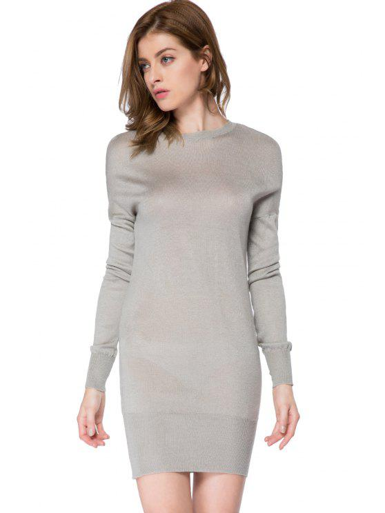 women's Bowknot Embellished Long Sleeve Dress - GRAY L