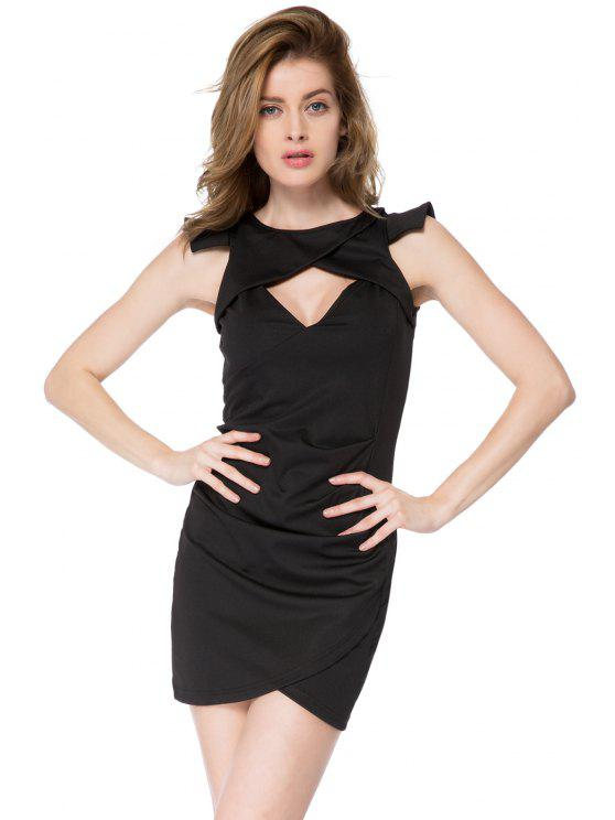 shops Solid Color Round Collar Dress - BLACK S