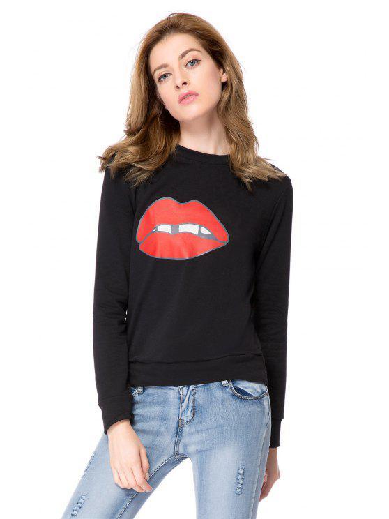 affordable Long Sleeve Lip Print Sweatshirt - BLACK S