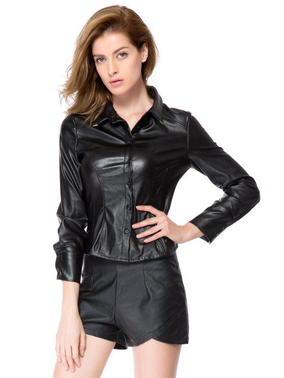 affordable Long Sleeve PU Leather Shirt - BLACK M