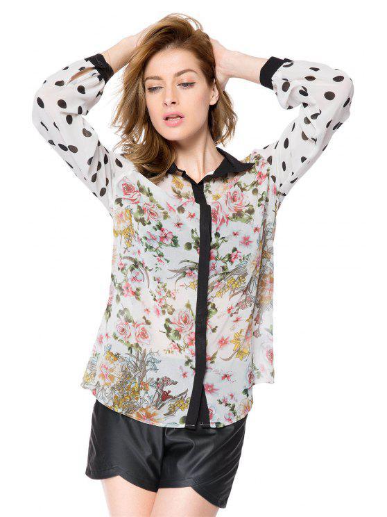 shops Floral and Polka Dot Print Shirt - COLORMIX M