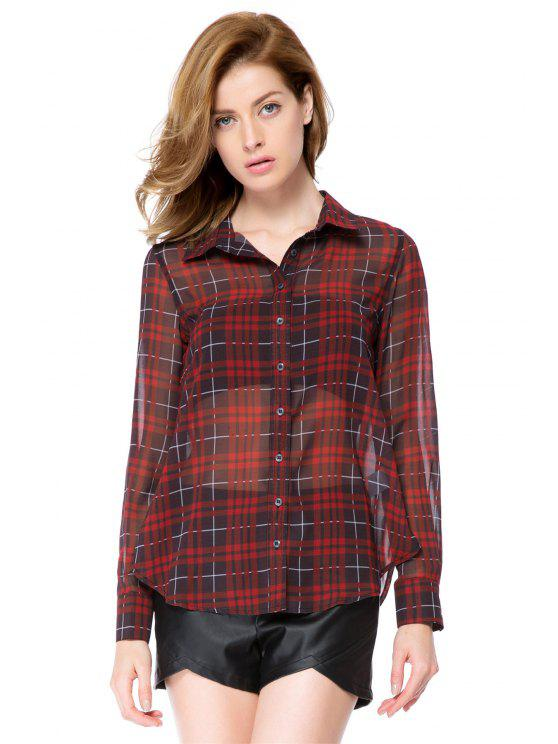 shop Red Plaid Long Sleeve Shirt - CHECKED M