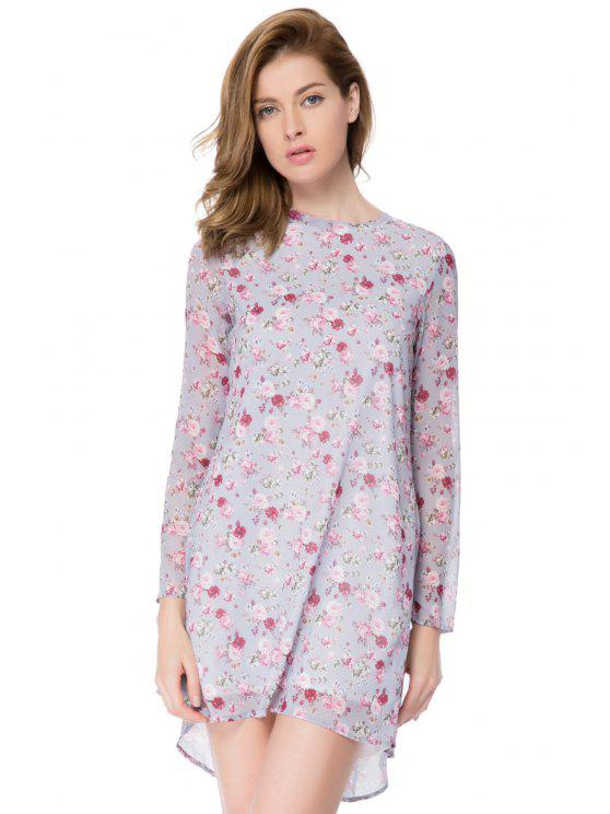 chic Tiny Floral Print Long Sleeve Dress - LIGHT PURPLE XS