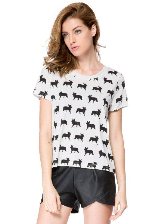 affordable Full Fox Print Short Sleeve T-Shirt - WHITE L