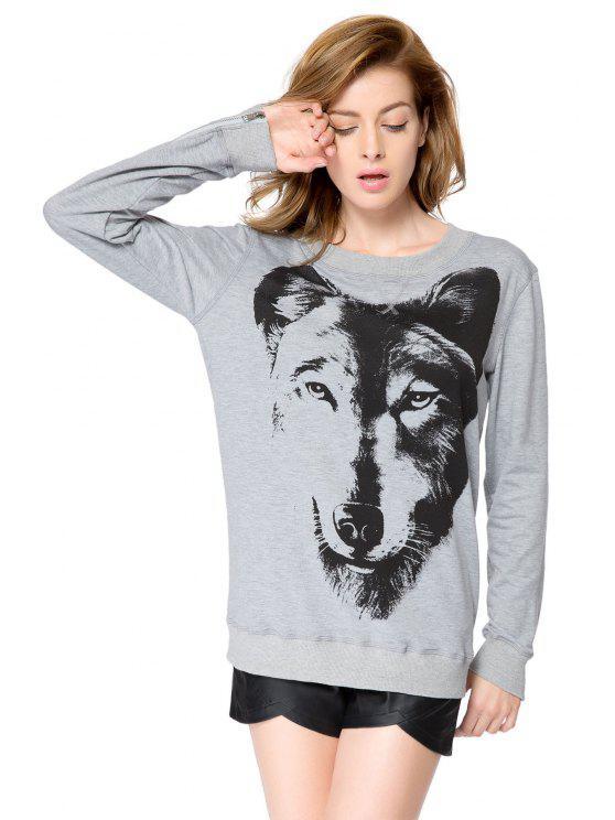 latest Wolf Print Long Sleeves Sweatshirt - GRAY S