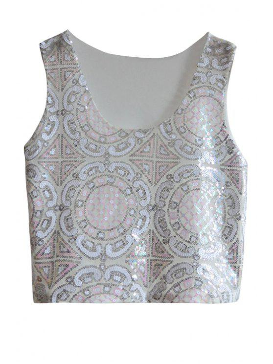 buy Ethnic Pattern Sequins Tank Top - PINK ONE SIZE(FIT SIZE XS TO M)
